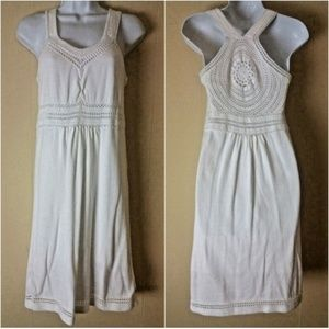 Athleta White Cotton Knit Dress With Crochet--Sz S